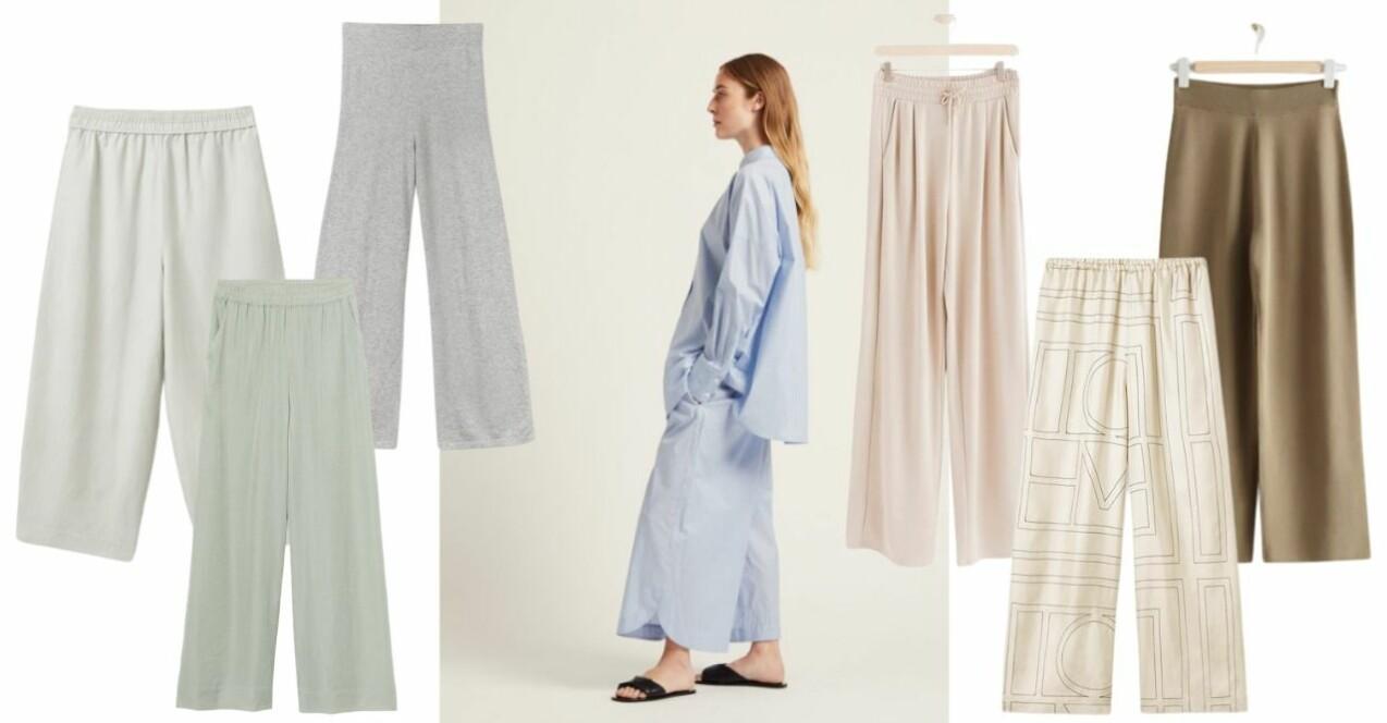 Collage med byxor i ljusa nyanser och pasteller. Raka och vida modeller.