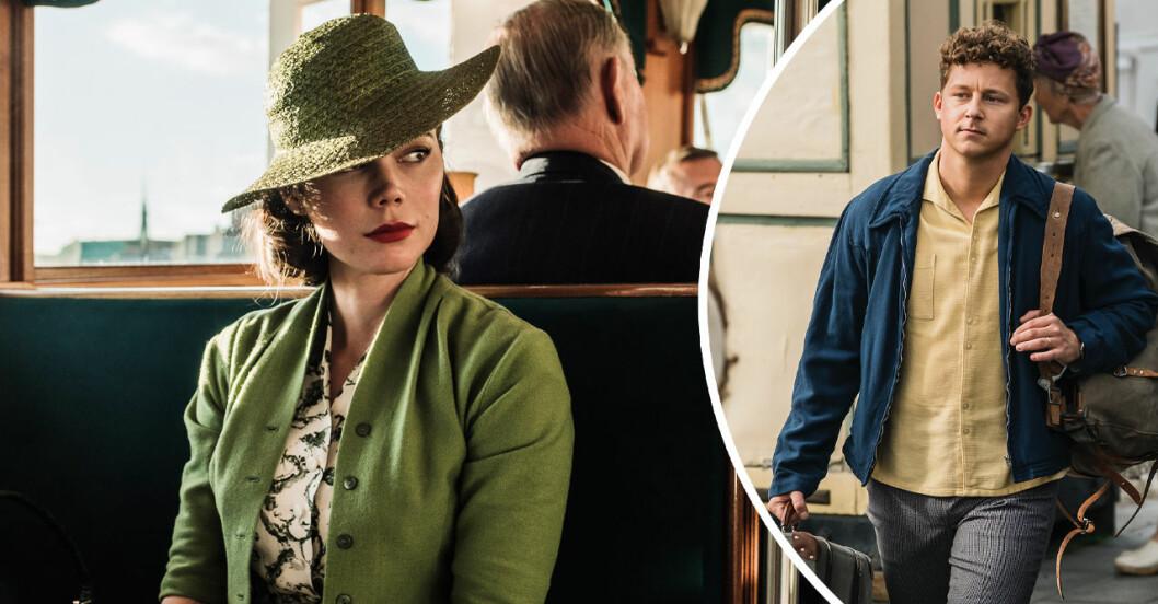 hedda stiernstedt i grön hatt och Charlie Gustafsson som går med resväskor