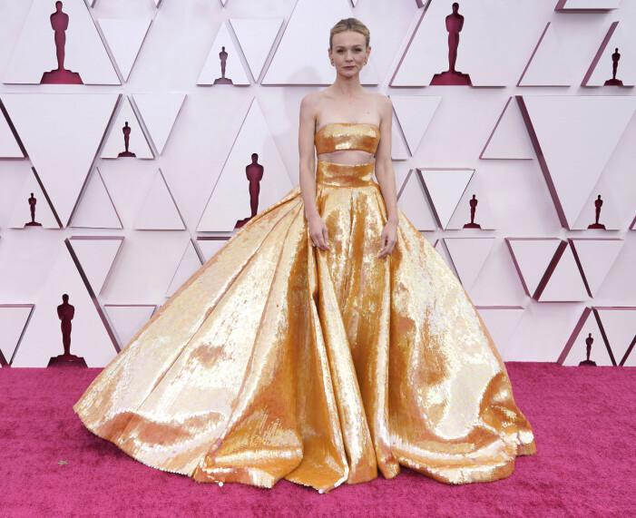 Carey Mulligan på röda mattan på Oscarsgalan 2021