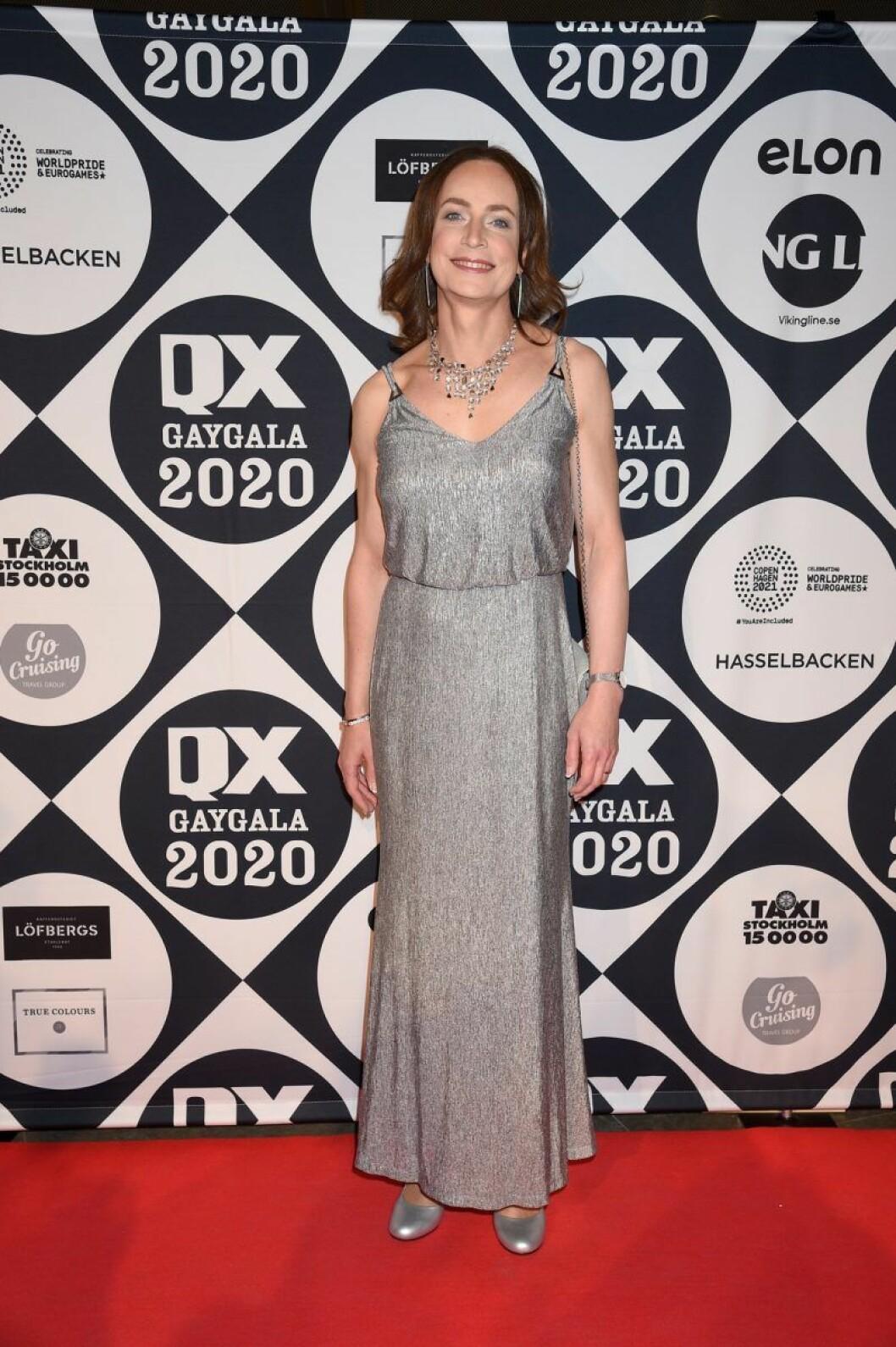 Caroline Farberger på röda mattan på QX-galan 2020