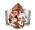 Bred, silverfärgad ring, justerbar. Men stor, rosa Swarovski-kristall. Ring från Caroline Svedbom.