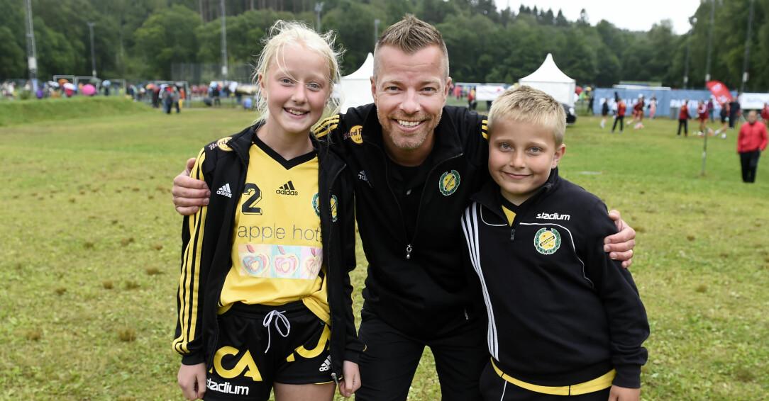 Casper Janebrink med dottern Alice och sonen Felix.