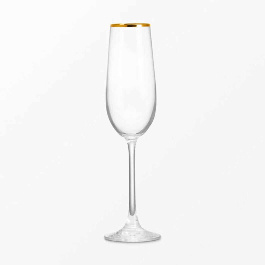 Champagneglas med guldig kant