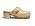 Träsko i beige med guldfärgad logga på sidan. Träskor från Chanel.
