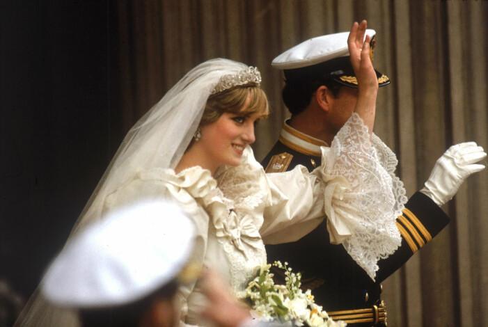 Charles och Diana på bröllopsdagen