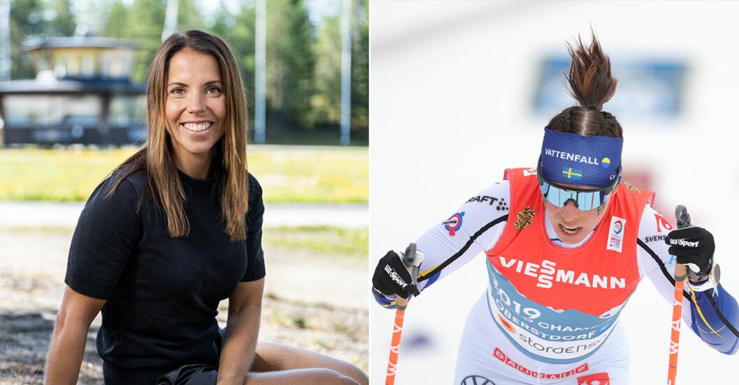 Charlotte Kalla på skidor och på en bänk