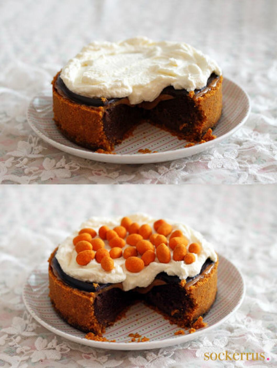 chokladcheesecake med chillinötter och kolakräm