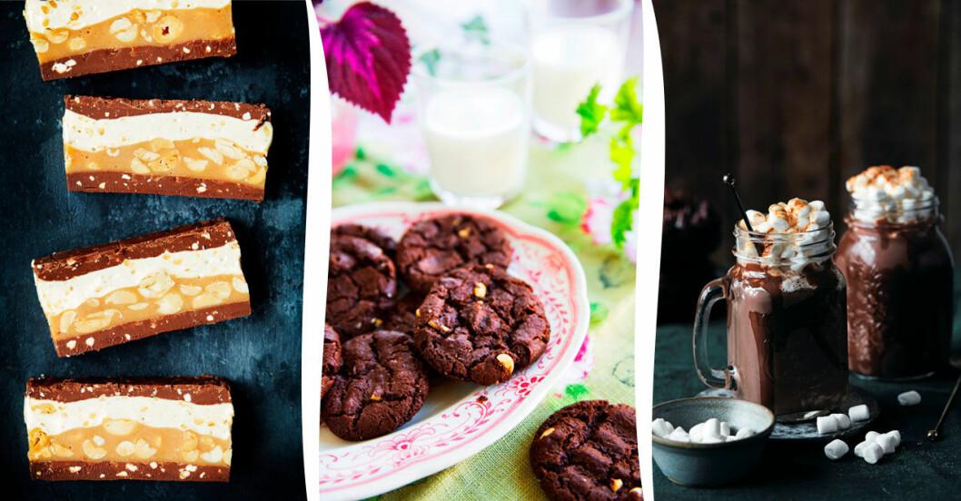 Godiskaka à la Snicker, spröda minicookies och varm choklad med chili - 5 ljuvliga recept med choklad