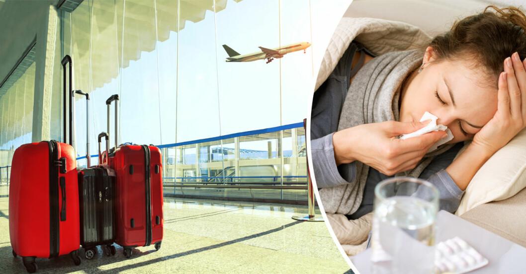Flygplan, resväskor och en sjuk kvinna