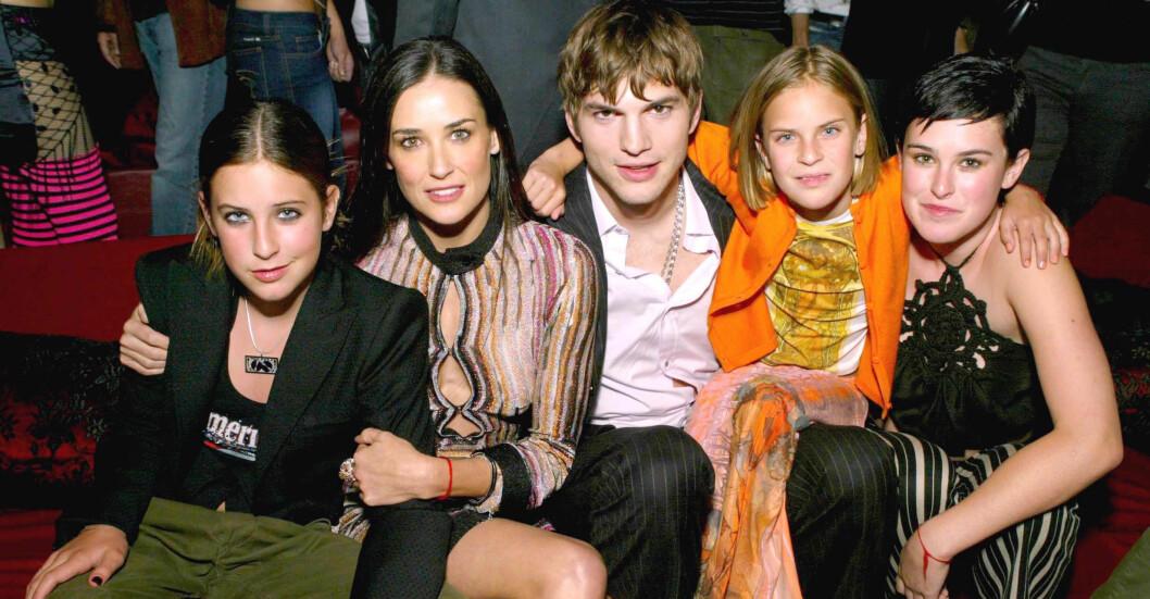 demi moore, ashton kutcher och de tre döttrarna