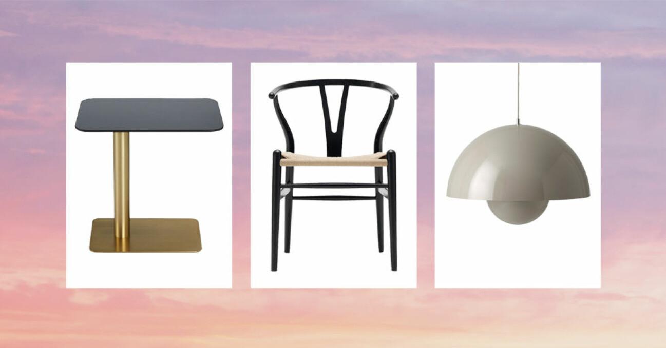 rea på designmöbler och lampor