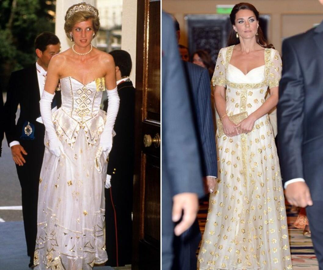 Kate Middleton och prinsessan Diana i vita och guldiga klänningar