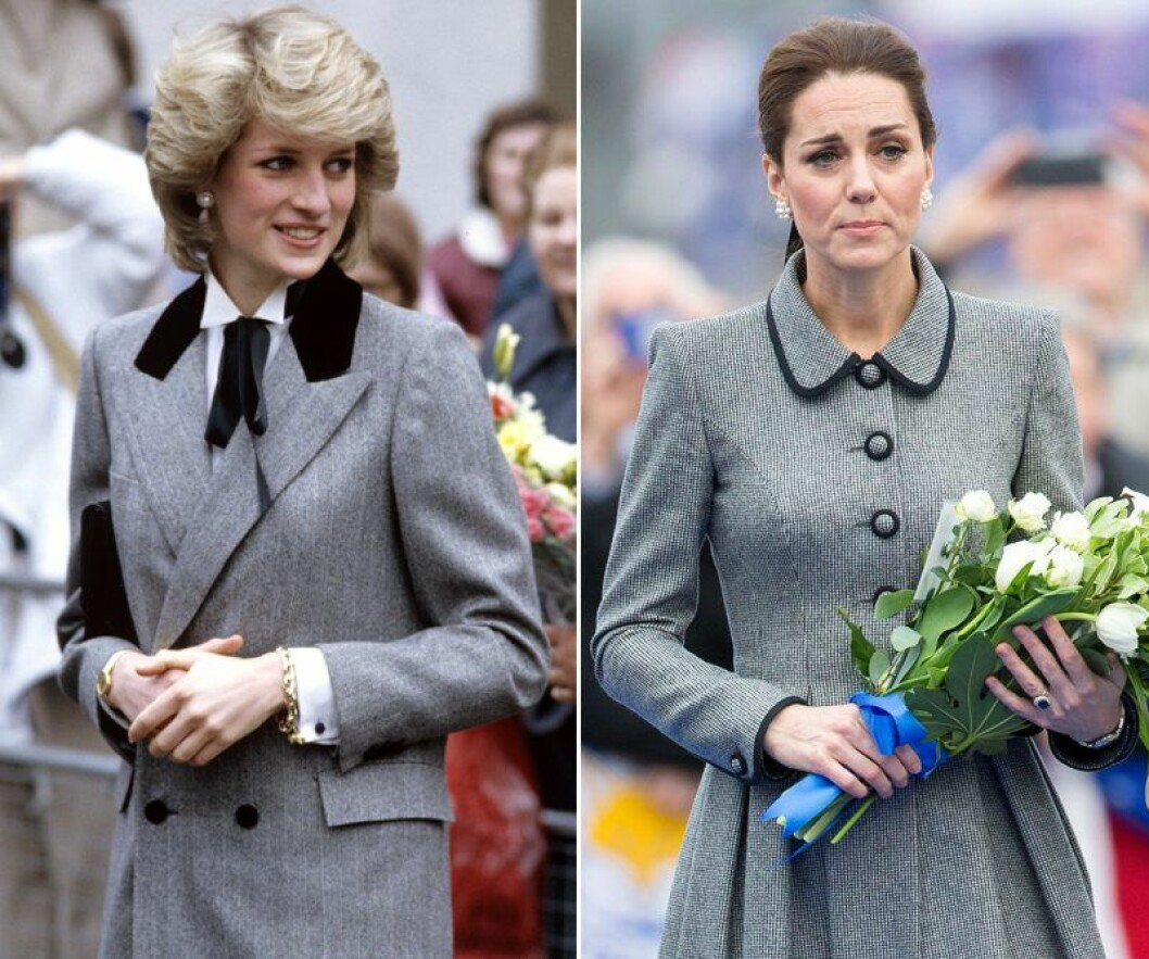 Kate Middleton och prinsessan Diana i grå blazer