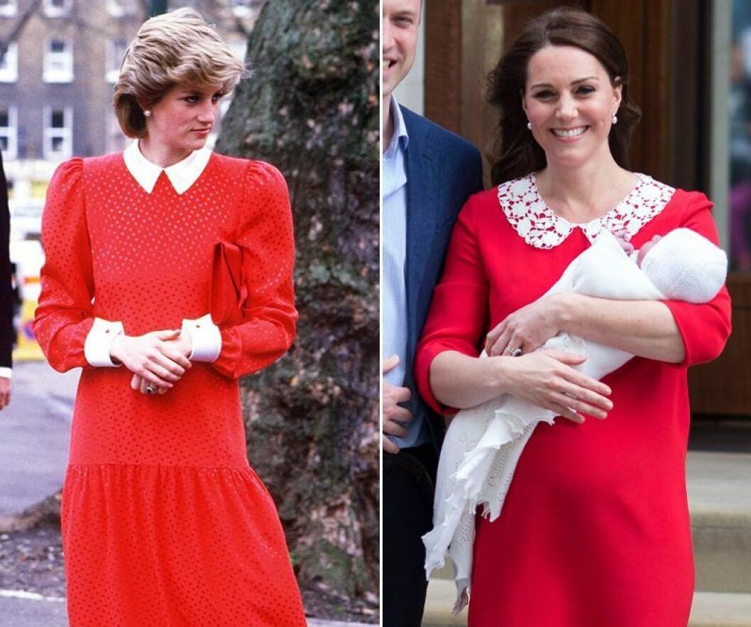 Kate Middleton och prinsessan Diana i röd klänning med vit krage