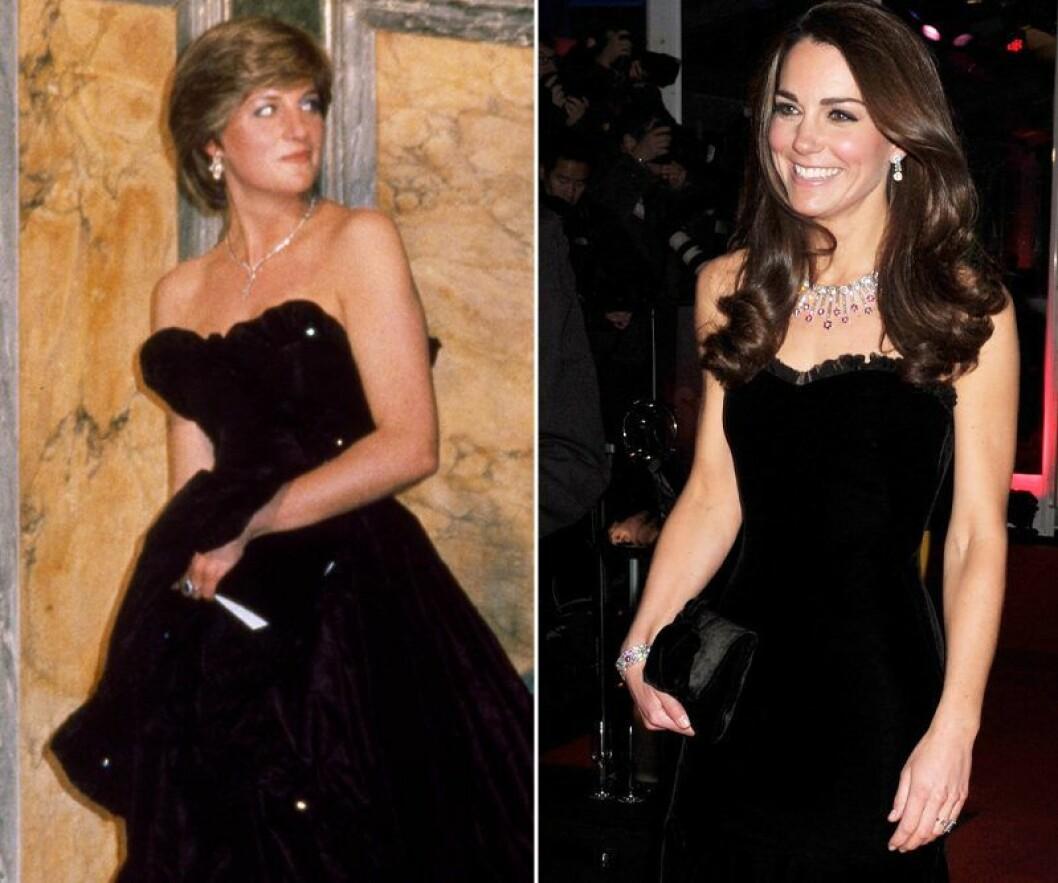 Kate Middleton och prinsessan Diana i svart axelbandslös klänning