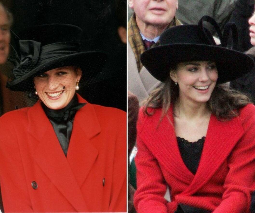 Kate Middleton och prinsessan Diana i röd kavaj med svart hatt