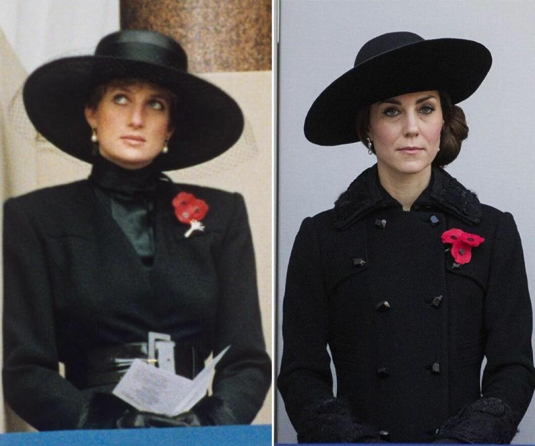 Kate Middleton och prinsessan Diana i svart jacka, svart hatt och en röd blomma på kragen