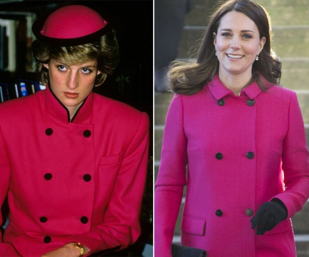 Kate Middleton och prinsessan Diana i rosa kappa