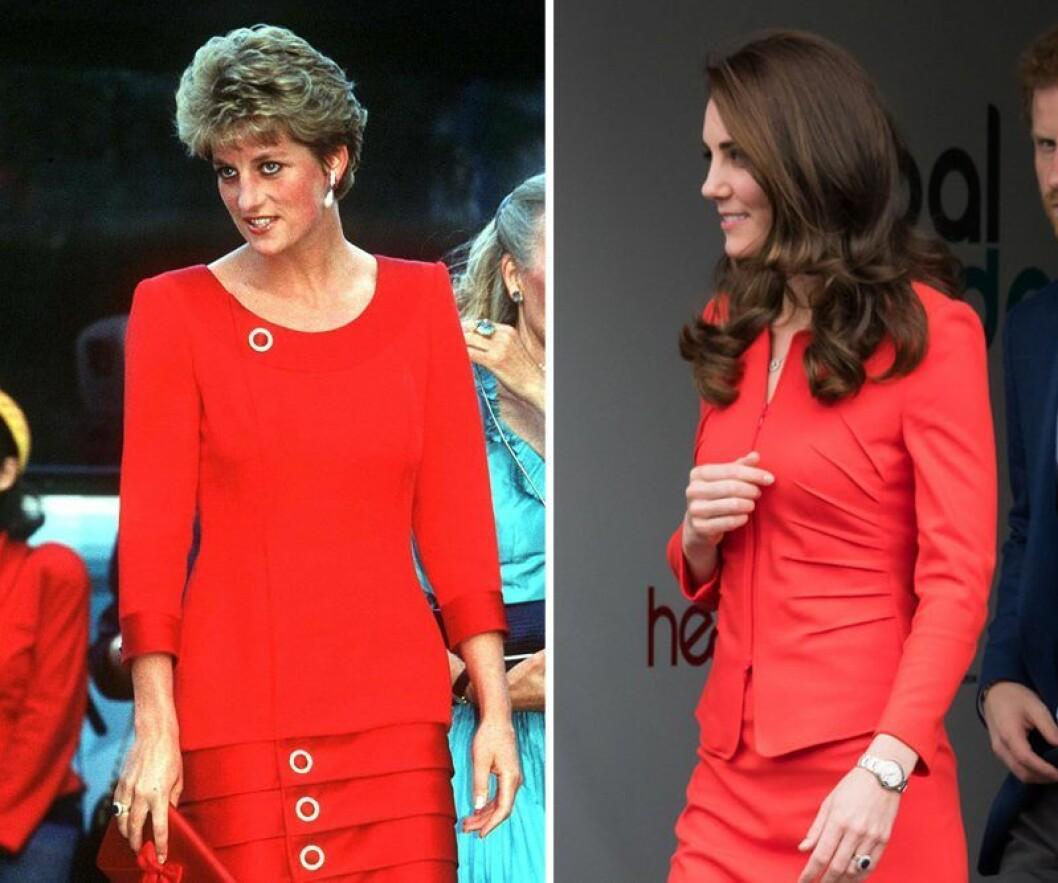 Kate Middleton och prinsessan Diana i röd outfit