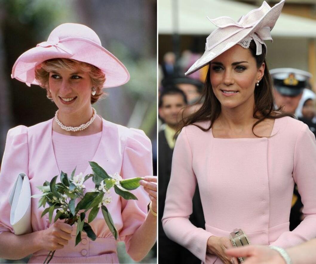 Kate Middleton och prinsessan Diana i rosa hatt och rosa klänning