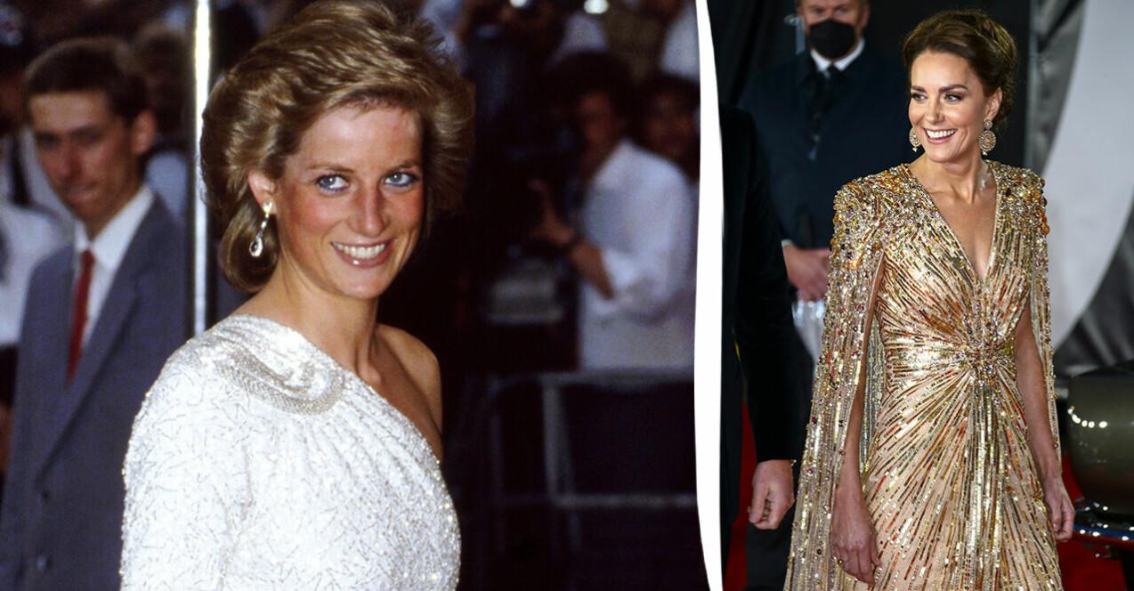 Diana, prinsessan av Wales och hertiginnan Kate av Cambridge på röda mattan.