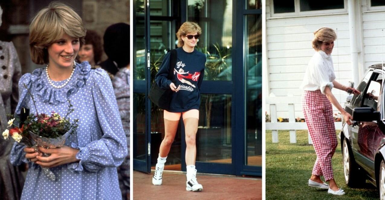 Tre bilder på Prinsessan Diana. Bilderna beskrivs mer längre ner i artikeln.