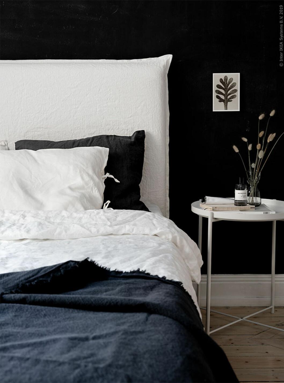DIY-sänggavel i linnetyg från Ikea