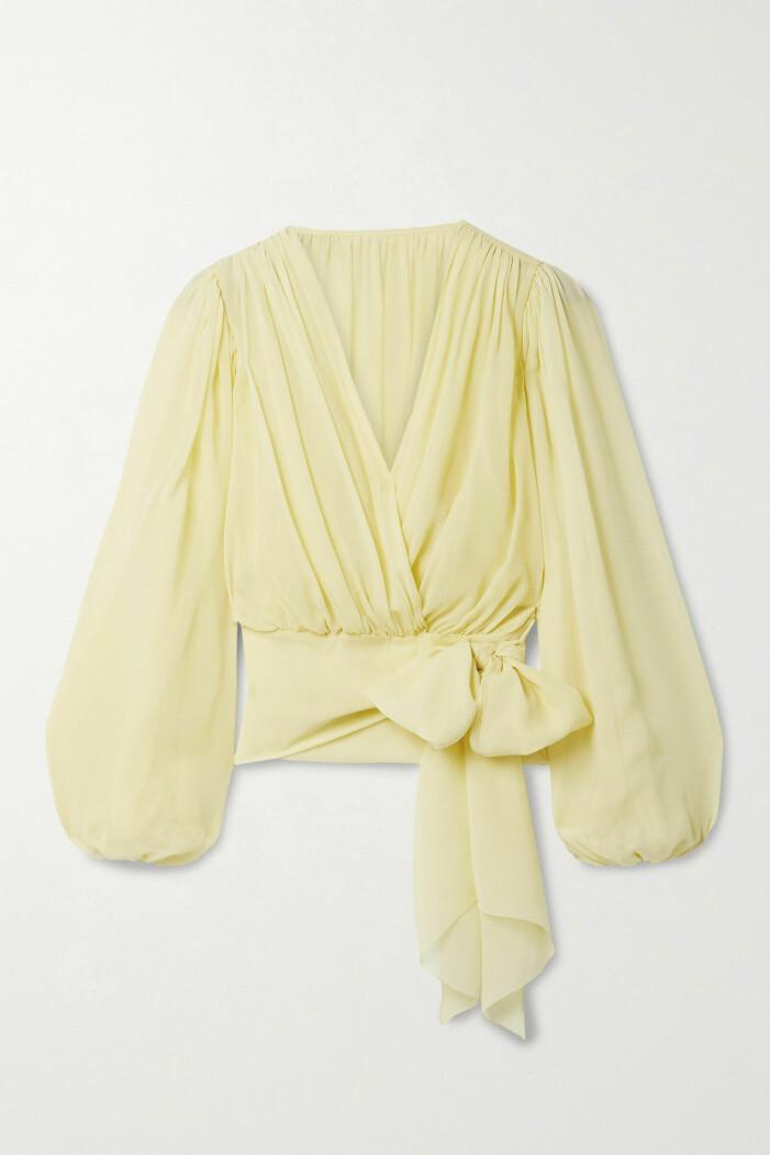 Dolce & Gabbana omlottblus i gult med ballongärmar