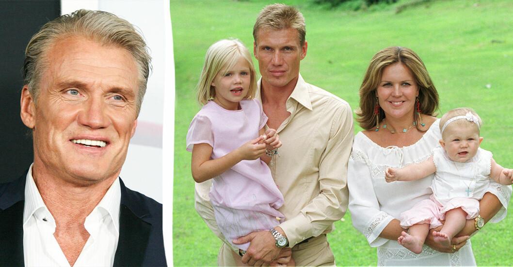 Dolph Lundgren med sina döttrar Ida och Greta när de var små.