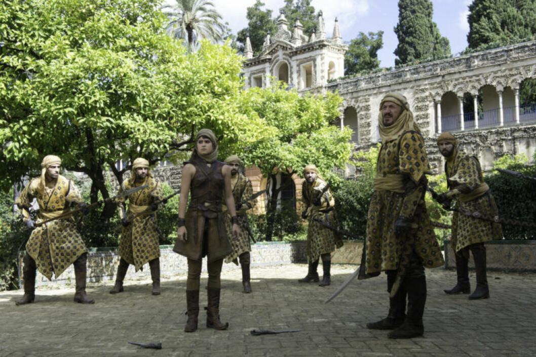 En bild ur tv-serien Game of Thrones och familjen Martells palats i Dorne.