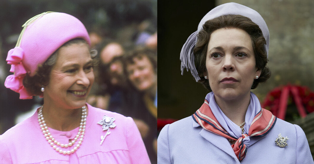 Drottning Elizabeth och Olivia Colman.