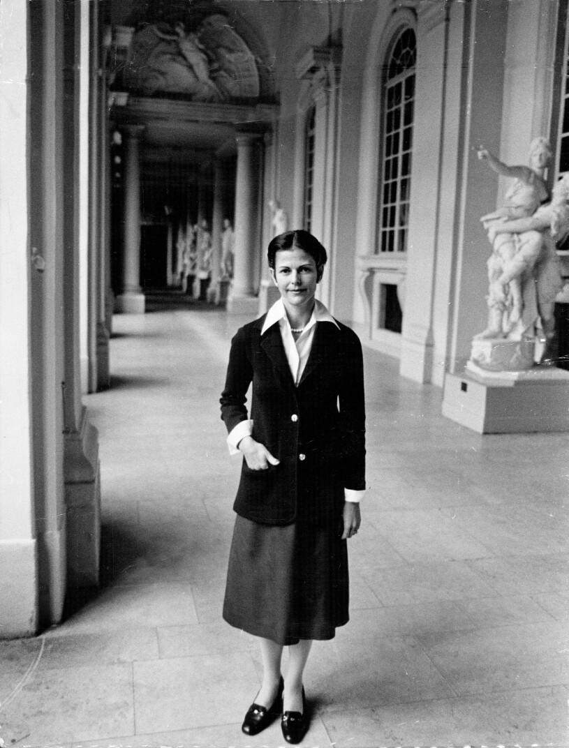 Drottning Silvia på slottet 1980