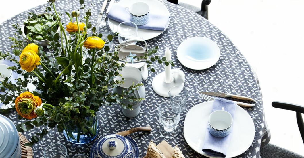dukat bord i blåa nyanser