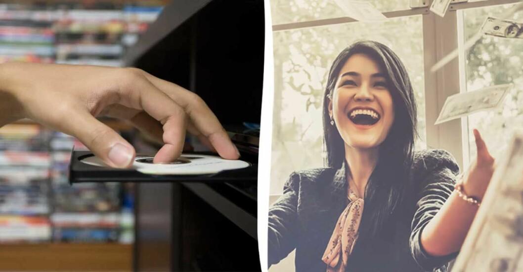 Hand som tar ut dvd-skiva kvinna som kastar pengar