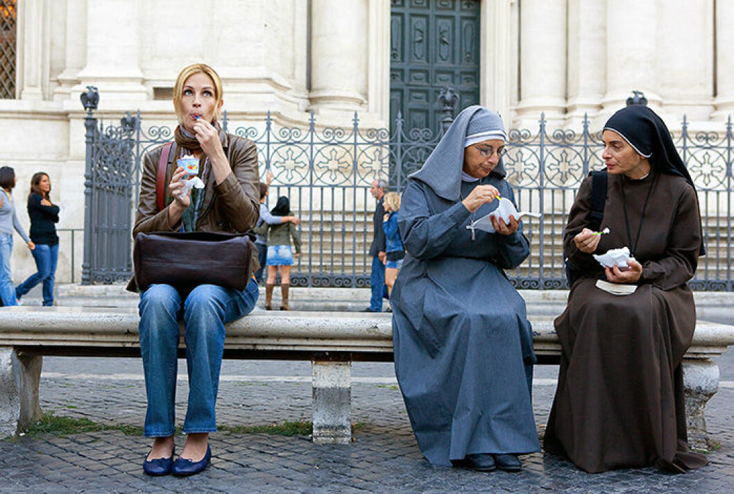 En bild på skådespelerskan Julia Roberts i filmen Eat Pray Love.