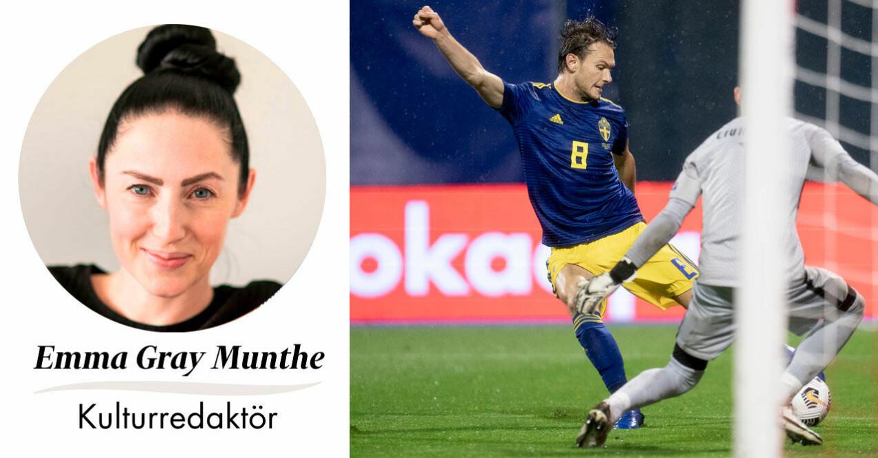 Feminas kulturredaktör Emma Gray Munthe och Albin Ekdal, fotbollsspelare i svenska landslaget.