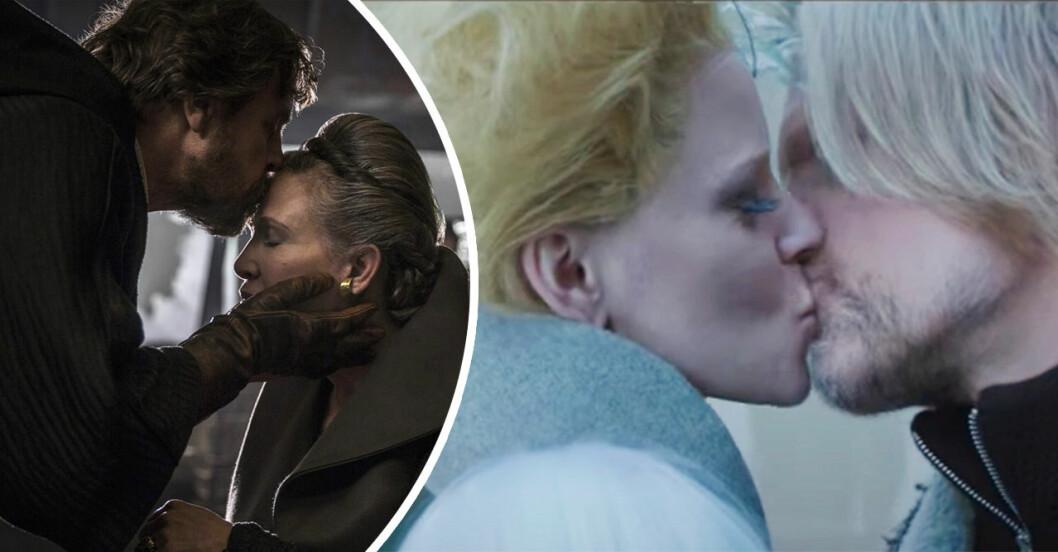 luke skywalker pussar leia på pannan, och Effie och Haymitch från The Hunger Games kysser varandra
