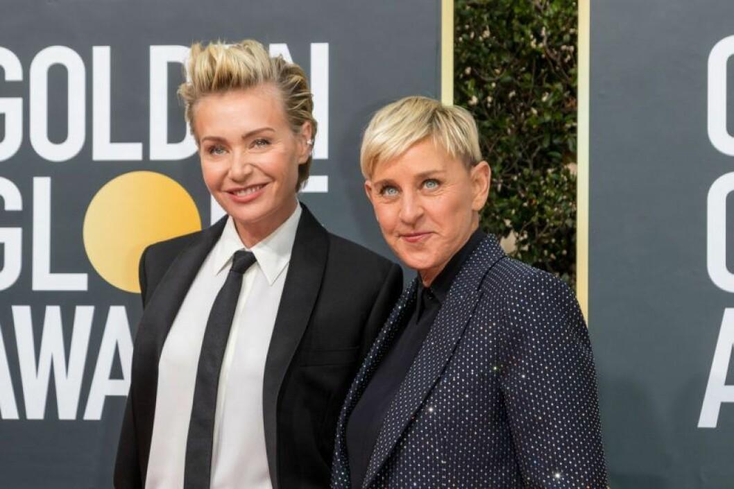 Ellen Degeneres och Portia de Rossi på röda mattan