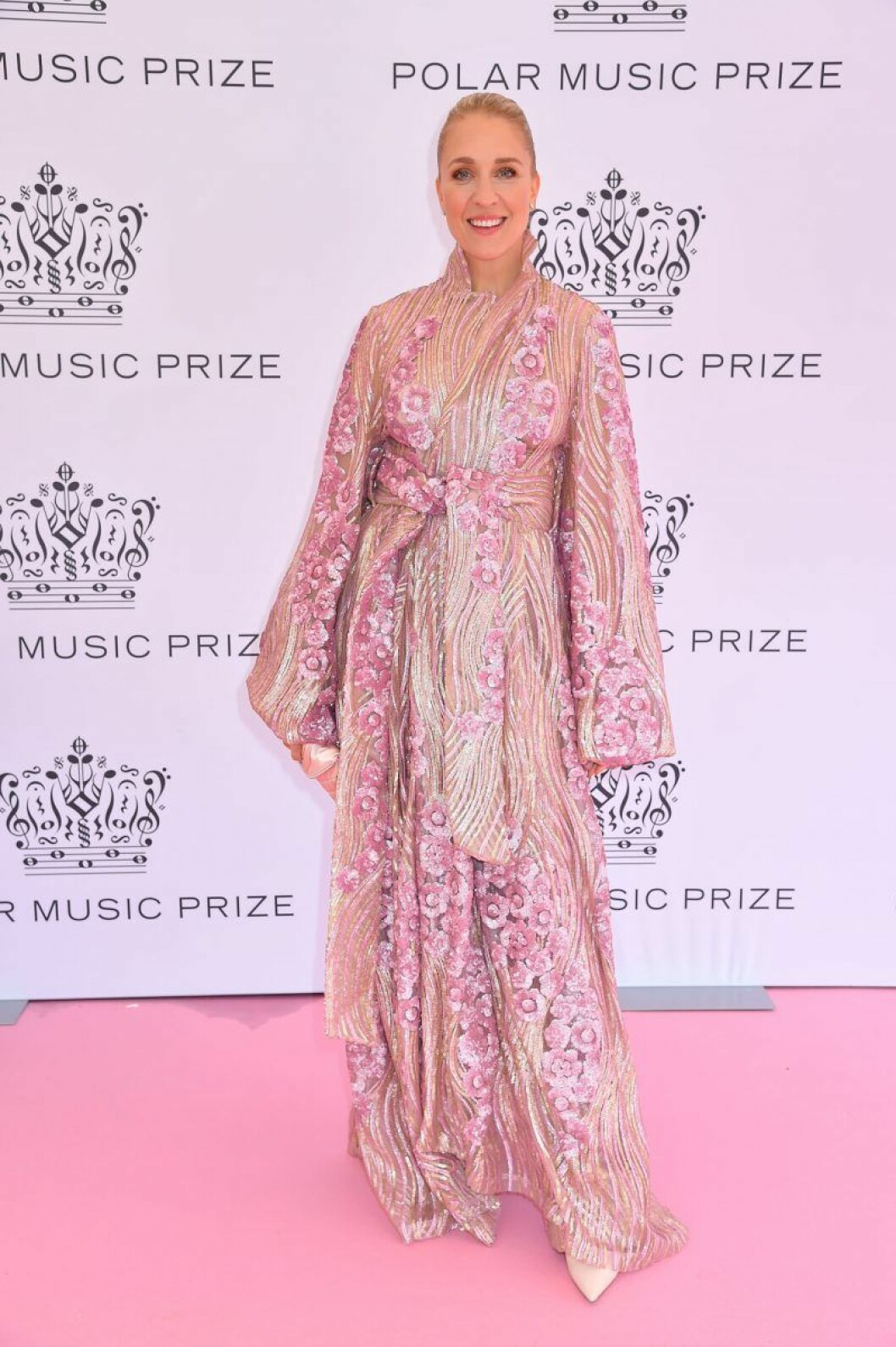 Emilia de Poret på rosa mattan på Polarpriset 2019