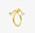 Guldfärgad ring som ser ut att vara ihopknuten, med silverfärgade kulor i ändarna. Ring från Ennui Atelier.
