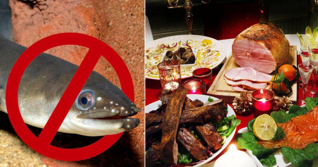 Ålen är utrotningshotad och bör enligt Naturskyddsföreningen väljas bort.