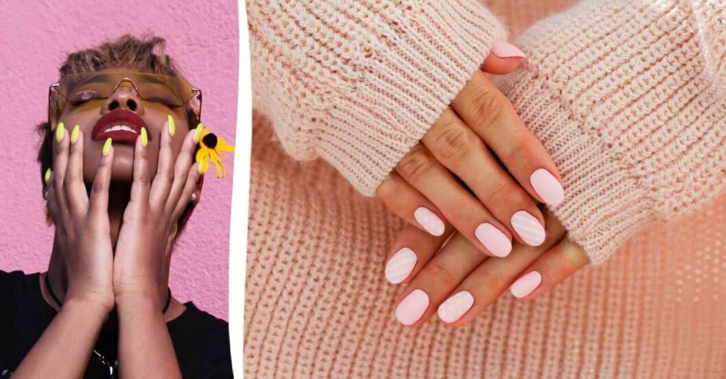 Kvinna med gult nagellack