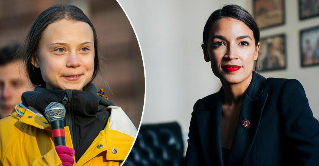Greta Thunberg i regnjacka och Alexandria Ocasio-Cortez på ett podium