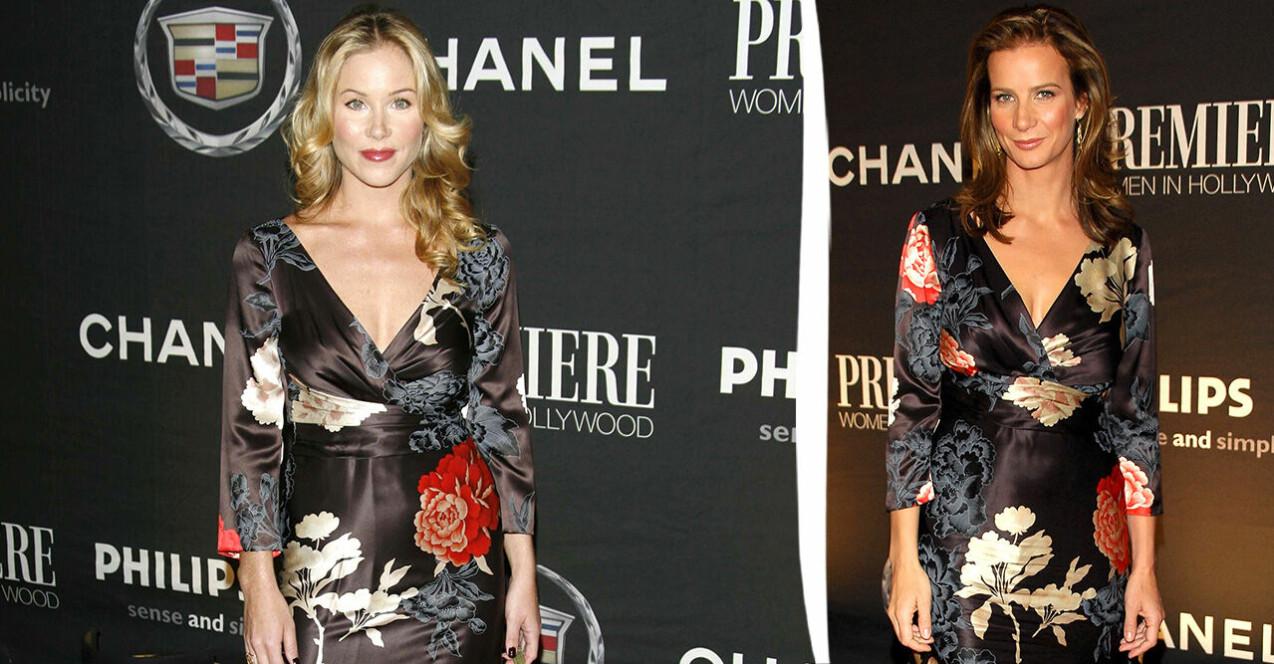 Christina Applegate och Rachel Griffiths i likadana klänningar.