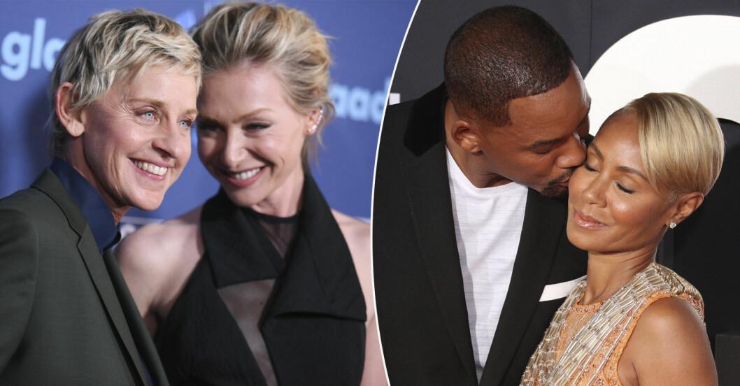 Ellen DeGeneres, Portia de Rossi, Will Smith och Jada Pinkett Smith