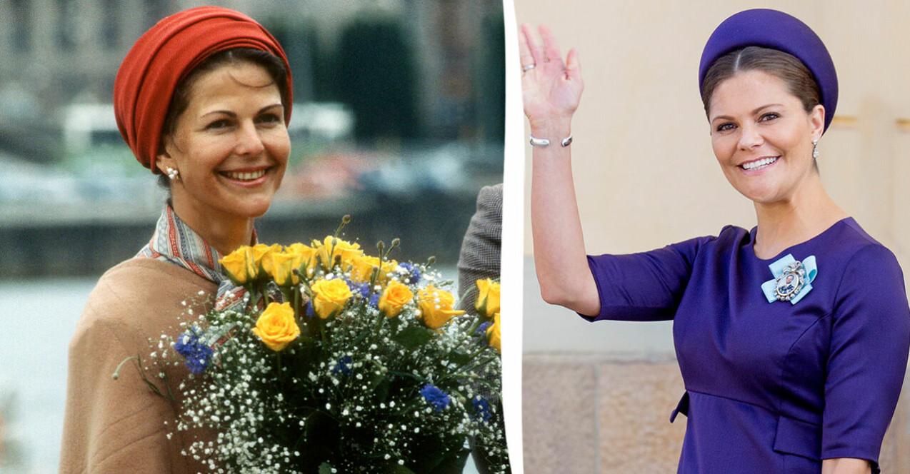 Drottning Silvia och kronprinsessan Victoria när de är lika gamla.