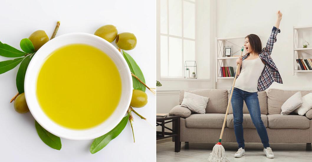 Olivolja och kvinna som städar