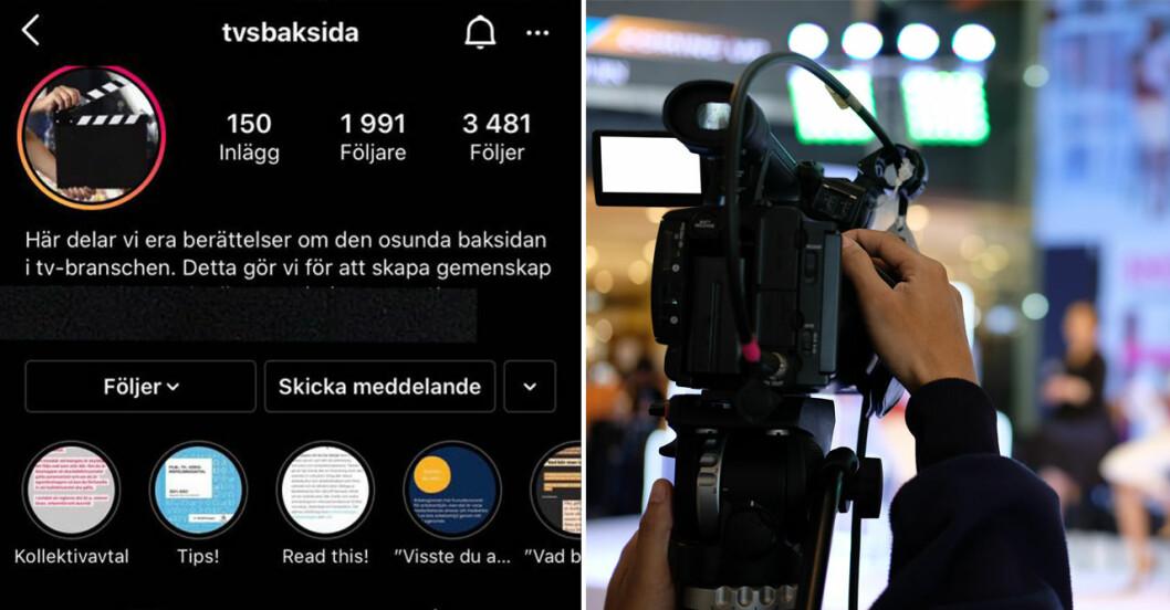 """""""I början av maj startade tre personer i den just nu omtalade tv-branchen Instagramkotot """"tvsbaksida"""""""