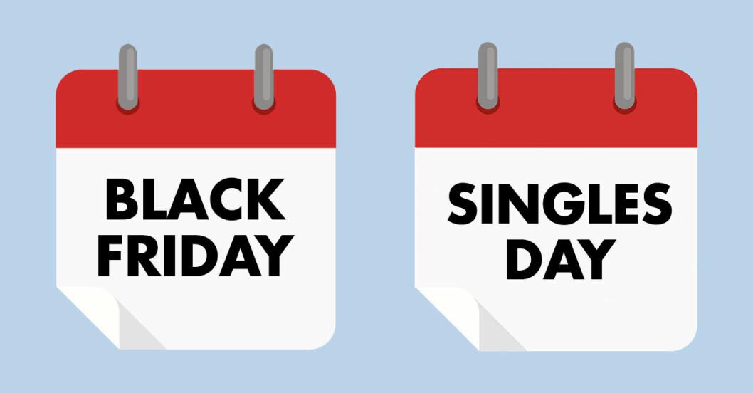 Det innebär readagarna Black Friday, Cyber Monday och Singles Day.