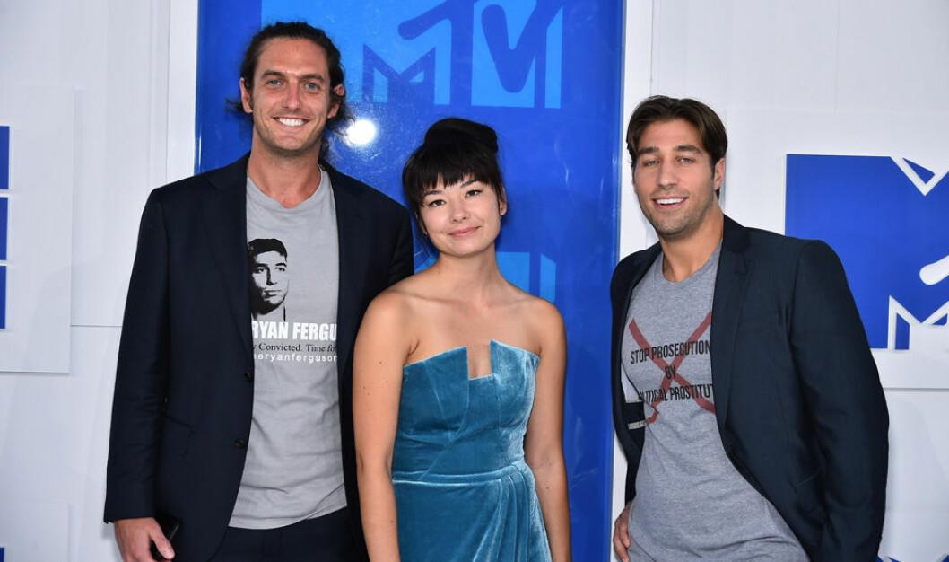 Ryan Ferguson på MTV-gala med t-shirt som visar att han blivit felaktigt dömd.